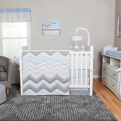 Trend Lab Blue Taffy Chevron 3-piece Crib Bedding Set