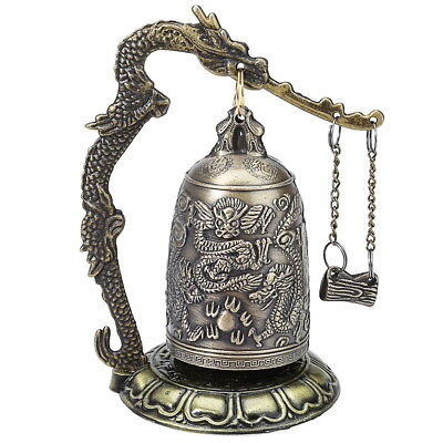 Vintage Bronze Lock Dragon Carved Buddhist Bell Chinese Geomantic Artware Decor