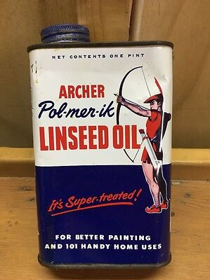 1950s Archer Linseed Oil 1 Pint Advertising Tin Can