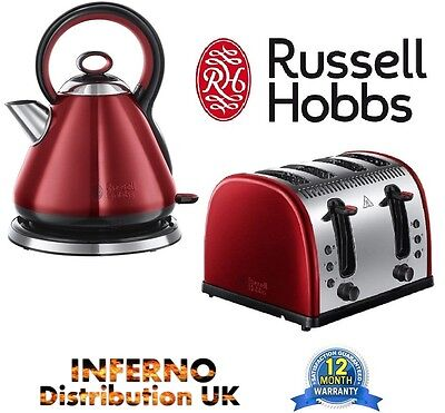 RUSSELL HOBBS Legacy 21881 Kettle & 21301 4 Slice Toaster Set In Red *BRAND NEW*