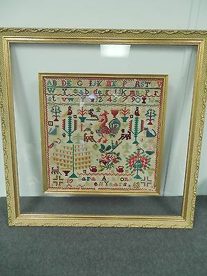 Framed Sampler 1898 by Sarah Ann Jones 11 Years Old Large Antique