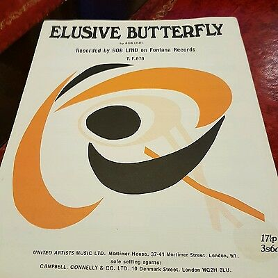 antique vintage piano vocal sheet music, ELUSIVE BUTTERFLY by Bob Lind