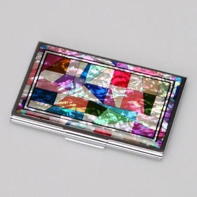 Mother of Pearl MOP Patchwork Design Business Credit Name Id Card Holder Case