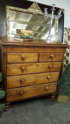 large victorian solid mahogany 5 drawer chest of drawers