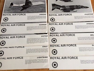 Royal Air Force Information Cards X10 From 1960's