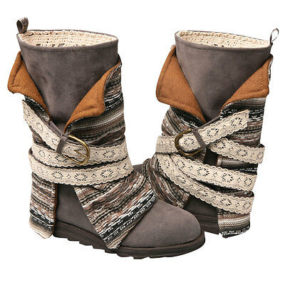 Muk Luks Mid Calf Boots - Blanket Style - Gray Print - Size 10