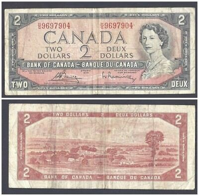 Canada 2 Dollars 1954 (1972-73) in (VF) Condition Banknote P-76c