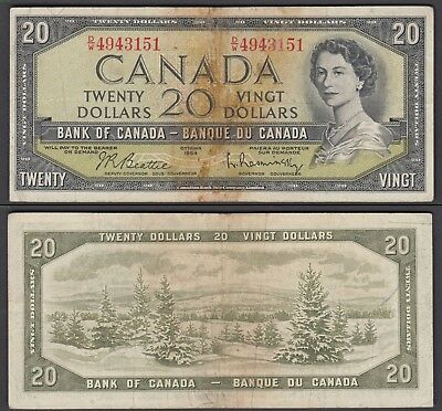 Canada 20 Dollars 1954 (1961-70) in (aVF) Beattie-Rasminsky P-80b