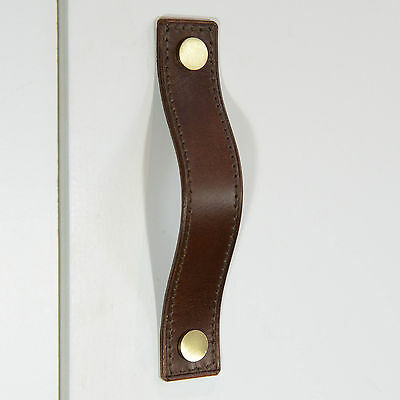 Stitched Brown Leather Door/Drawer Pull, Cupboard Handle