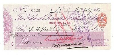 The National Provincial Bank of England, BRIDGEWATER cheque issued 1913