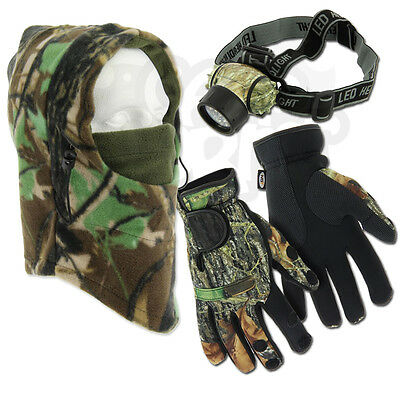 Fishing  Neoprene Gloves Folding Fingers + LED Head Torch + Camo Snood Hat
