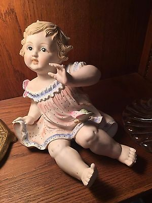 Antique German Bisque Porcelain Piano Baby Girl. LARGE/RARE/BEAUTIFUL