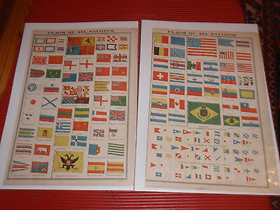 "Antique Print Newpaper Pages Flags Of All Nations 1877 Section 1  & 2 17"" X 12"""
