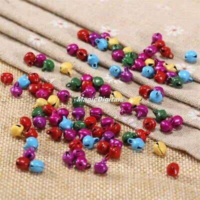 100 Colorful Loose Beads Jingle Bells Christmas DIY Crafts Handmade Accessories