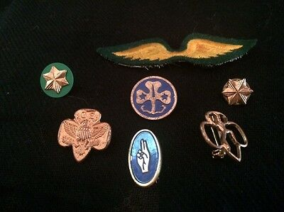 Vintage Girl Scout pins, lot of 7 pieces