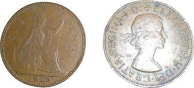 USED British 1962 Elizabeth II One Penny Coin (One Coin Only) (D.T)