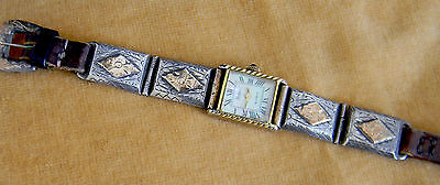 Vintage Silver And 14K Gold Mexican Women's  Bracelet With Pedre Watch