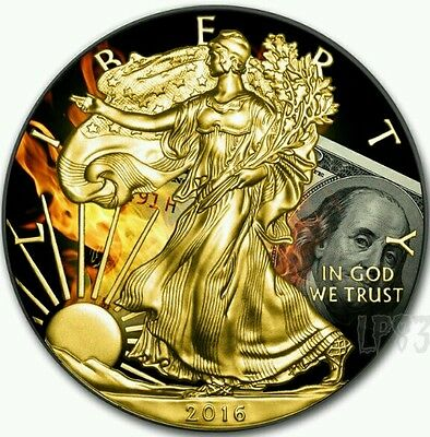 2016 1 Oz Silver American Eagle Burning Dollar Ruthenium N 24kt Gold Gilded..