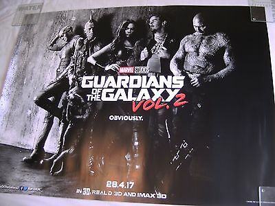 MARVEL Guardians Of The Galaxy Vol 2 2017 UK adv cinema quad poster DS 30x40 NEW