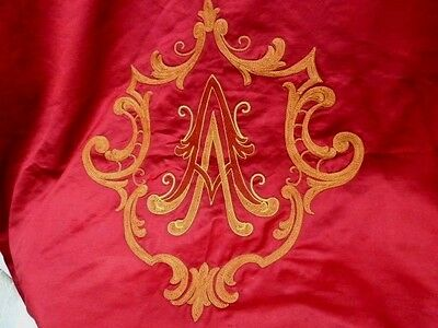 Superb Huge Silk Baronial Curtain Very Large Monogram/crest