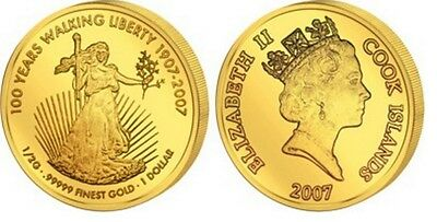 100 Jahre Walking Libery - 1 Dollar Cook Islands 2007 PP .99999 Gold