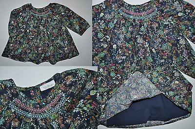 Next Baby Girls Navy Floral Shirt Top Blouse Age 3-6 Months Eur 68Cm Cotton