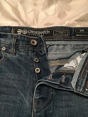 CROSSHATCH  Men's Straight Cut Jeans - Faded Blue - Button Fly  Size  30S
