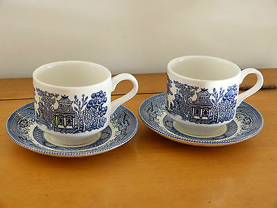 Mint! Pair Of Churchill England Blue Willow Tea/coffee Cups & Saucers!
