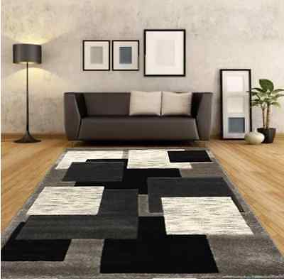 New Large Silver Black Modern Living Room Rugs Grey Hall Runners Small Rug Mat