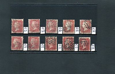 GB Stamps. QV. 1d Reds, used, Plates Various X 10.