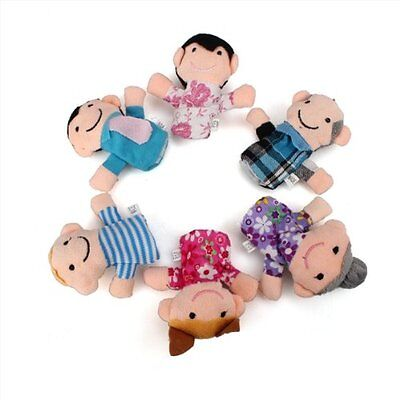 H371 6Pcs Family Finger Puppet Cloth Baby Childs Kid Play Learn Story Helper Toy
