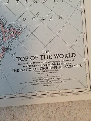 VINTAGE LARGE THE TOP OF THE WORLD WALL MAP National Geographic October 1961