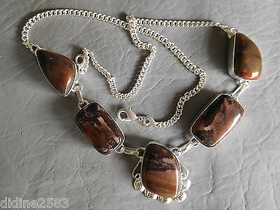 Collier Pendentif 5 Pierres Naturelles Jaspe Marron Plaque Argent Brown Necklace