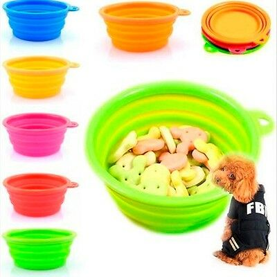 Cute Collapsible Travel Pet Cat Portable Silicone Feeder Water Feeding Bowl