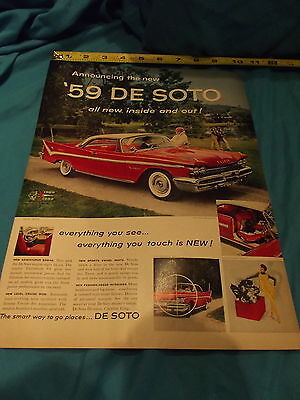 1959 Desoto Fireflite Coupe (1929-1959)  Full Page Vintage Automobile Print Ad