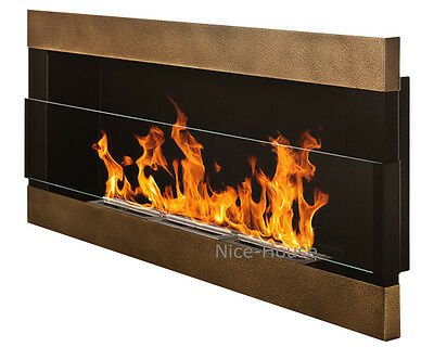 BIO ETHANOL FIREPLACE | 900x400 mm | ANTIQUE GOLD WITH GLASS  | ECO FIRE BURNER