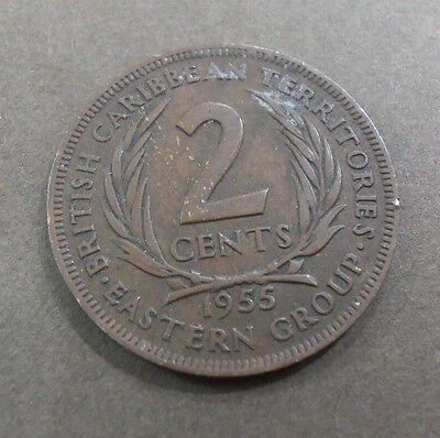 British Caribbean Territories 2 cents coin. two cent. used 1955