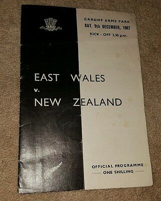 East Wales v New Zealand 1967 rugby union programme