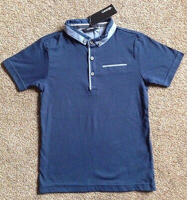 Boys Button Collar Polo Shirt From George  Age 6-7 Years  Bnwt