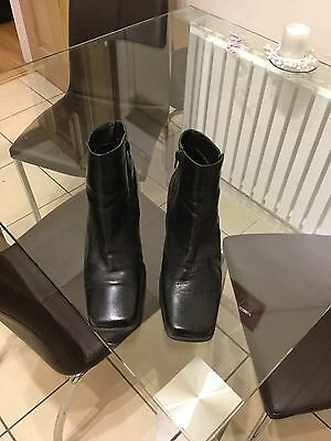 Ladies Black Leather Ankle Boots Size 7