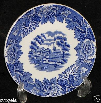 Enoch Wood/Sons England Scenery Pottery Stoneware Butter Pat Plate Blue Willow