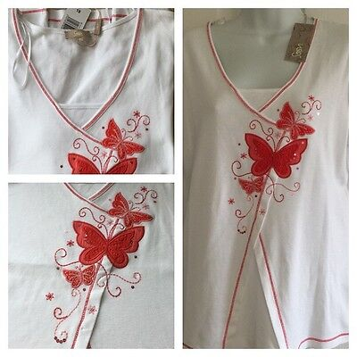 *NEW* SOON at MATALAN LADIES EMBELLISEHED COTTON TOP SHORT SLEEVE WHITE SIZE 18
