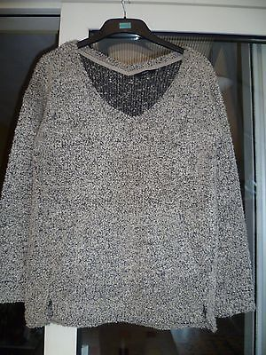Next Ladies size 10 Grey V Neck Jumper Long Sleeve VGC