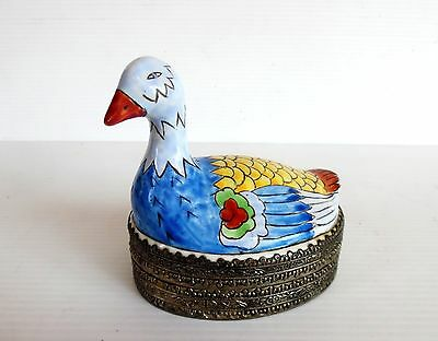 Vintage Hand Painted Metal Trinket Box With Internal Mirror Bird Shape Unique