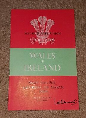 wales v Ireland 1959 rugby union programme