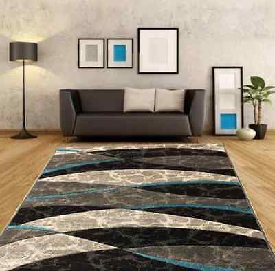 New Teal Blue Silver Modern Floor Rug Large Small Rugs Cheap Good Quality Mat