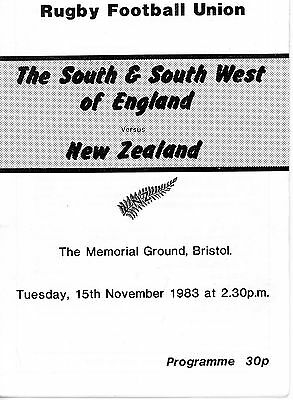 The South & South West of England v New Zealand 15/11/83