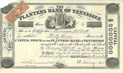 TENNESSEE 1868, Planters Bank of Tennesse Stock Certificate ABN