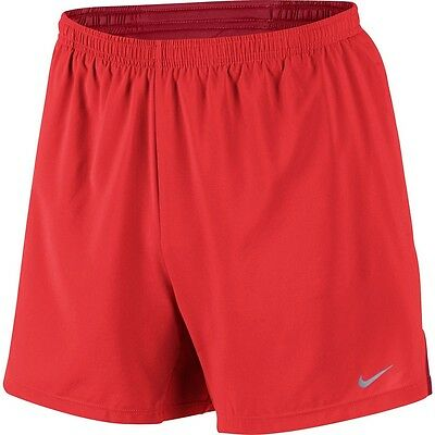 """Mens XL Nike Dri Fit 5"""" Running Shorts 2 in 1 Lined Orange Red Athletic 597980"""