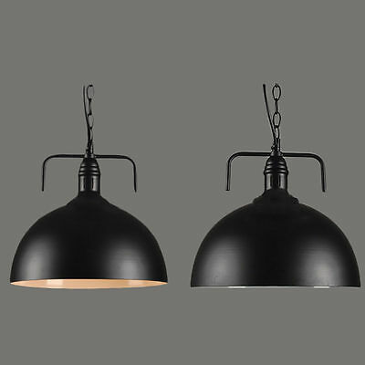 2x Vintage Industrial Black Iron Bar Ceiling Pendant Light Kitchen Home Fitting